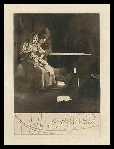 Original-Radierung-1903-von-L-Kempf-Elternglueck