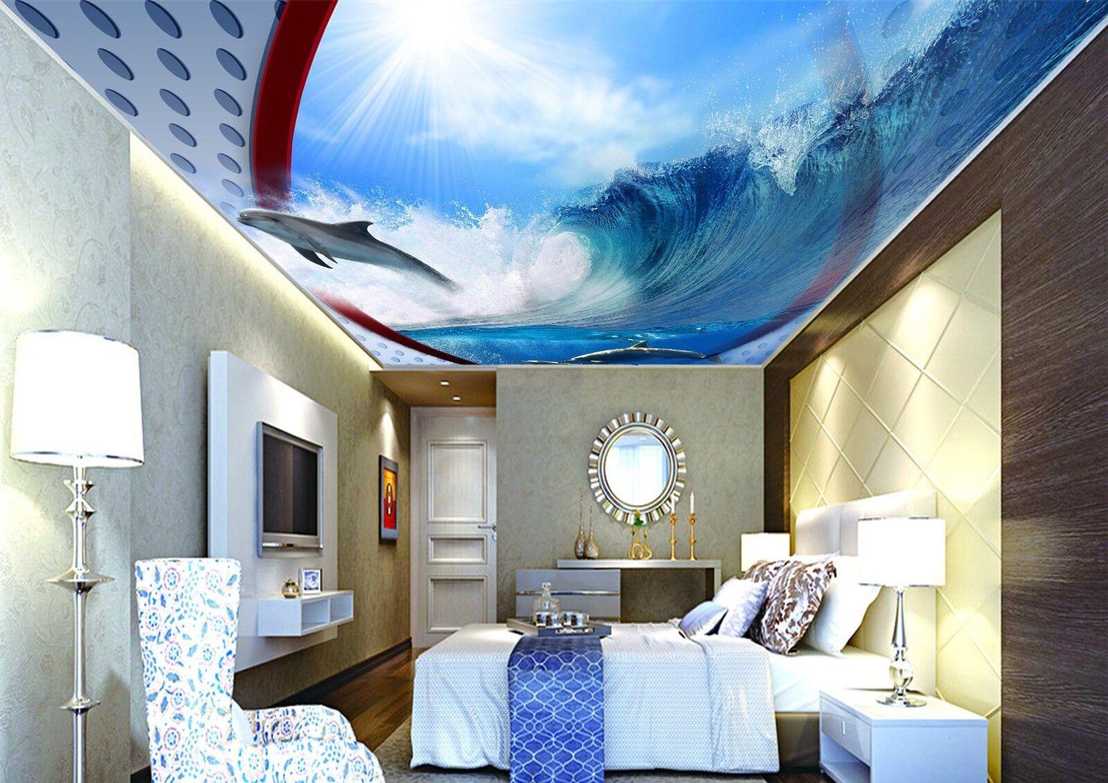 3D Dolphin Sea 7 Wall Paper Wall Print Decal Wall Deco AJ WALLPAPER Summer