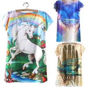 Eg-Kurzaermlig-Kleidung-DAMEN-3D-Einhorn-Grafik-Bedrucktes-T-Shirt