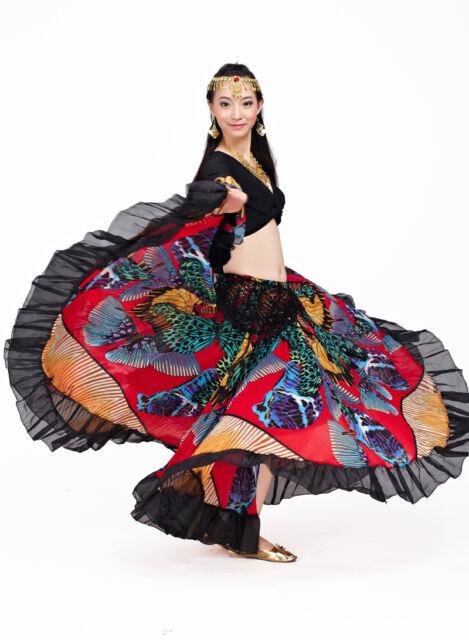 Belly Dance Chiffon Tribal Bohemia Gypsy Long Skirt Full Circle Dress 2 Colors