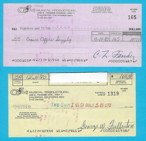 2 Checks Leo Fender /& George Fullerton G/&L 1980 Autographed Business