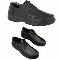 Mens Black Laced Shoes Soft Casual Wide Front Foot Fitting Comfy Padded Shoe