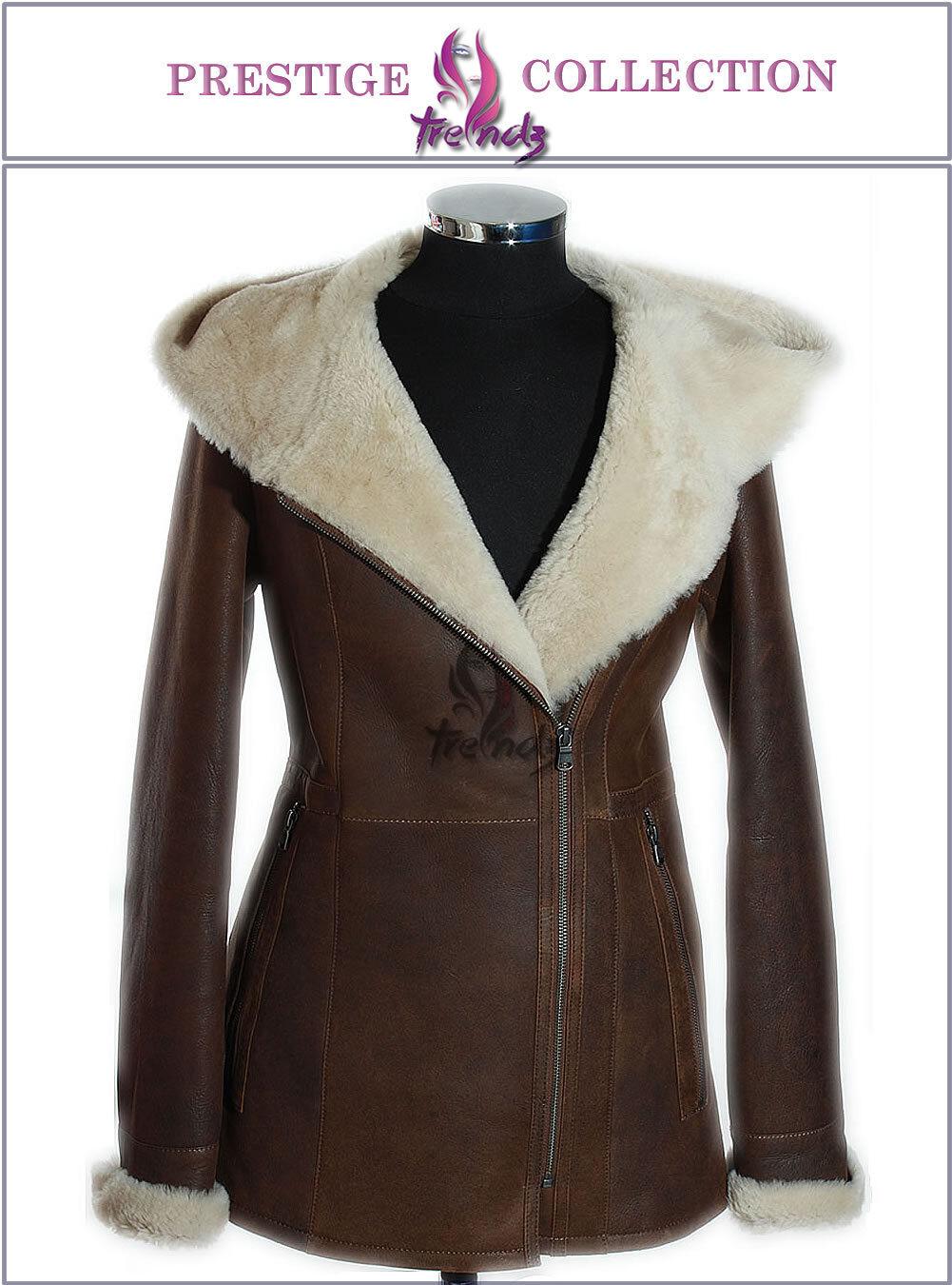 Prestige  Sophia Rust bspringaa   vit Ladies Hood Real Merino Sheepsky Coat