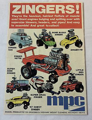 DUNE BUGGY 57 CHEVY VAN 1975 VINTAGE 6.5X10 COMIC TOY PRINT AD FOR MPC ZINGERS