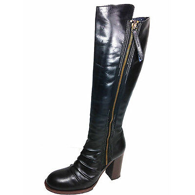Hugo Boss Knee High Zipper Side Zipper Black Boots Size 37 Eur. Usa.6.5