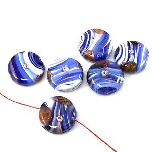Handmade-Lampwork-Glass-Ocean-Blue-Sky-Dream-Floral-Beads-Artisan-20mm-6pcs-A13