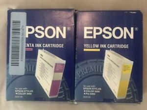 Epson-Ink-Stylus-Color-3000-Ink-Cartridges-S020122-amp-S020126-New-Factory-Sealed
