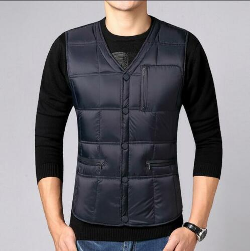 Mens Vests Padded Warm Thicken Casual Sleeveless V-neck Solid Color Fashion D211