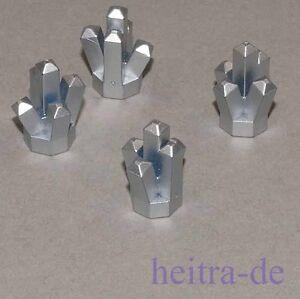 LEGO-4-x-Kristall-1x1-mit-5-Zacken-metallic-silber-Crystal-52-NEUWARE