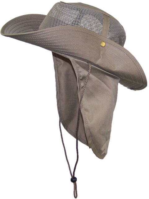 3d108b03a33be Tropic Hats Summer Wide Brim Mesh Safari outback W neck Flap   Snap up Sides