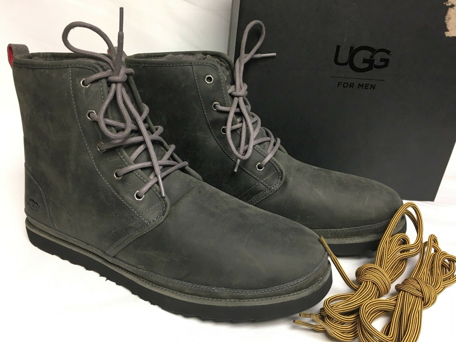 5ccccdfa42b UGG Men's Harkley Waterproof Ankle Boot 6 M Charcoal Full Grain Leather