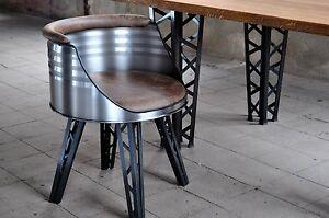 fass stuhl esstisch stehlampe im gittermast design aus stahl eiche tischplatte ebay. Black Bedroom Furniture Sets. Home Design Ideas