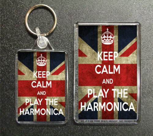 KEEP CALM AND PLAY THE HARMONICA UNION JACK KEYRING AND FRIDGE MAGNET GIFT SET