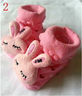 Cartoon Newborn Baby Girls Boys Anti-slip Socks Slipper Shoes Boots 0-8 Months