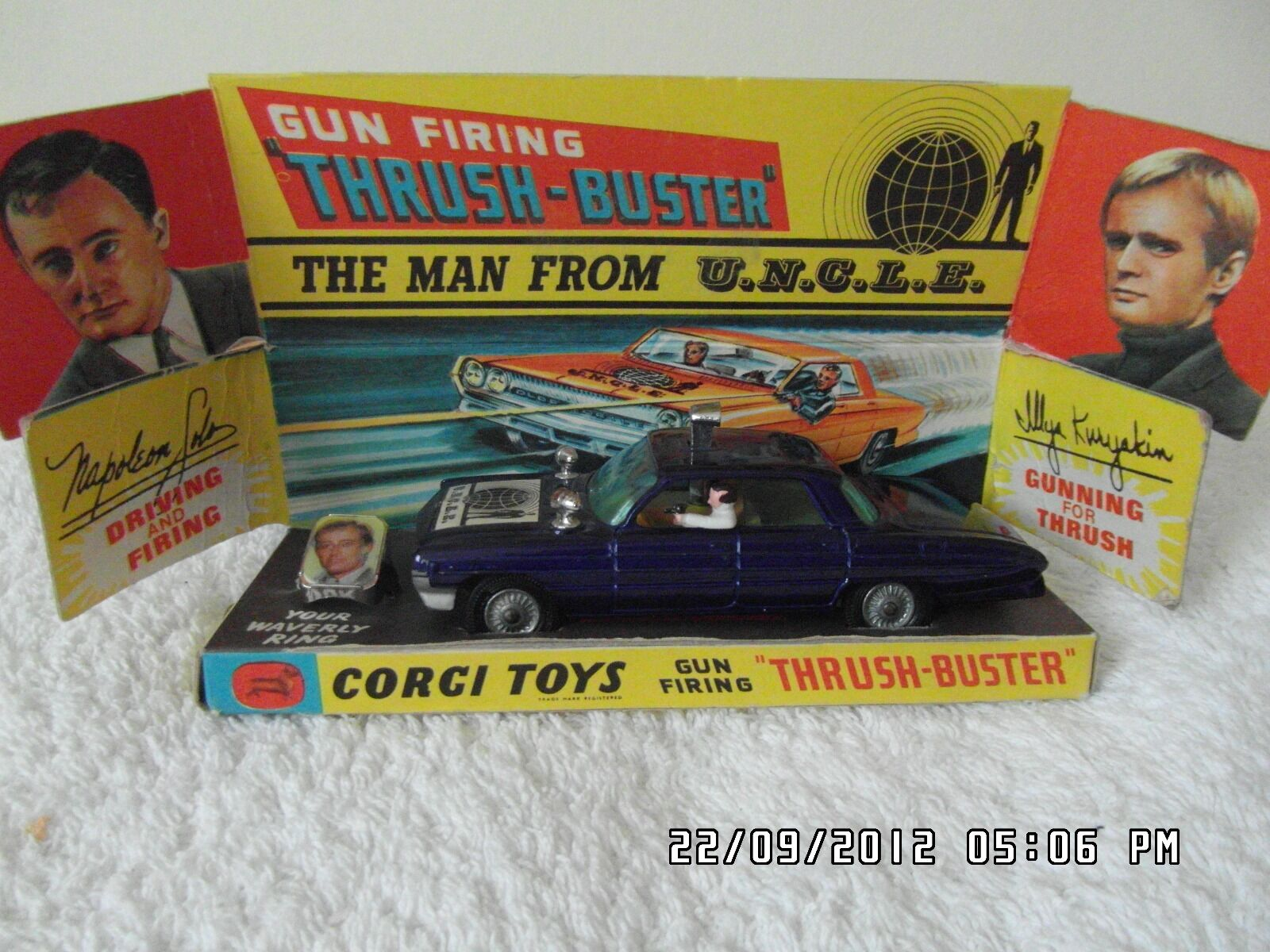 Original MINT Man From U.N.C.L.E First issue 1966 car and Original box and Ring.