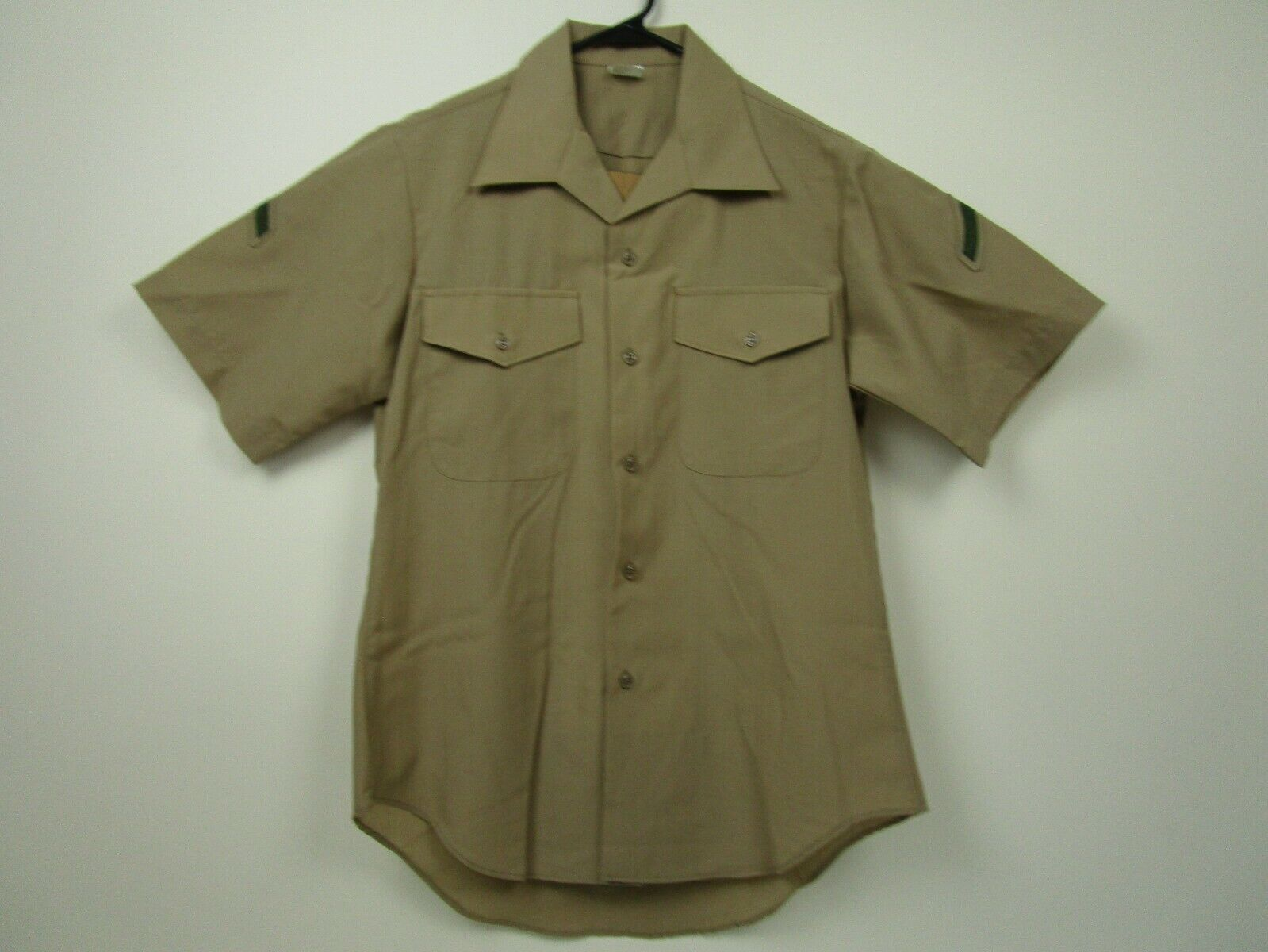 Vintage Mens Army Issue M Brown PFC Patch Polyester Wool Button Front Shirt EUC