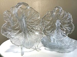 Vintage-INDIANA-Glass-PEBBLE-LEAF-CLEAR-GLASS-TWIGGY-PLATE-CANDY-DISH-Set-6-PCS