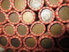 SEALED WHEAT INDIAN HEAD PENNY MIX SHOTGUN ROLL WITH INDIAN CENT END COIN LOT Z0