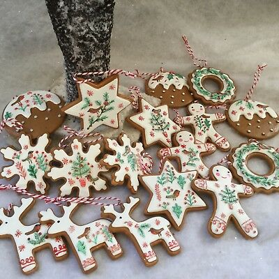 Poly Dough Iced Gingerbread Christmas Cookie Decoration Tree Man Gisela Graham Ebay