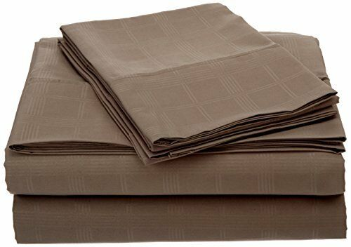 Impressions by Luxor Treasures Microfiber Sheet Set Full Size Taupe Windowpane