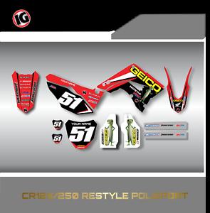 Honda Cr 125 250 Graphics kit Polisport Restyle kit 2002-2008 GEICO MSG US