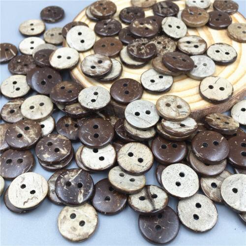 Knöpfe Nähen Scrapbooking Dekoration 13mm 200 Stück Kokosnuss Knopf