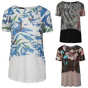 Womens-Ladies-summer-top-Double-layer-patterns-print-Tunic-top-Size-S-M-amp-Large