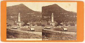 Cernobbio Como Lombardia Italia Foto Stereo PL48L3n Vintage Albumina c1870