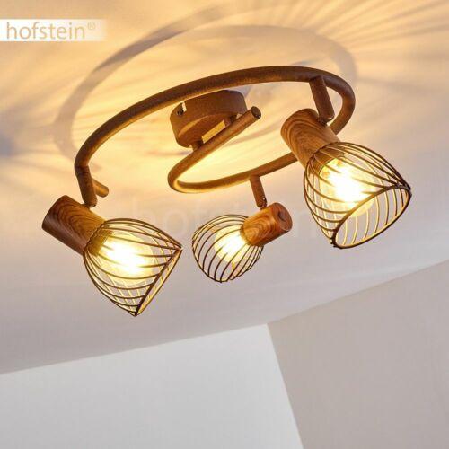 Holz Decken Lampen 3-flammig Flur Strahler Rostbraun Wohn Schlaf Zimmer Leuchten