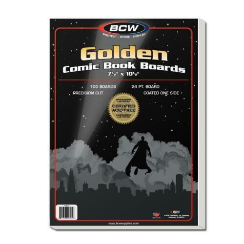 """1 Pack 100 BCW Brand Golden Age 7 1//2/"""" Comic Book Storage Backing Backer Boards"""