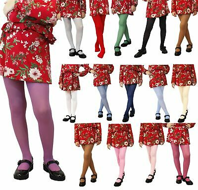 Girls Tights 60 den Plain Opaque Microfibre sizes from 2 yrs to 11 yrs.