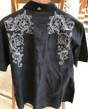 English Laundry Hand Sewn Shirt Black With White Design XL