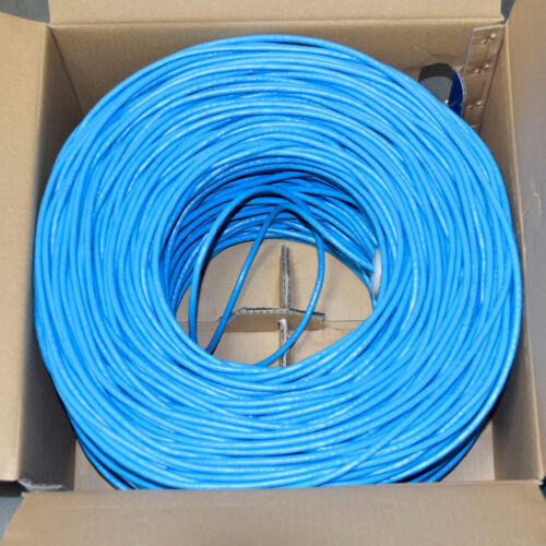 CAT6 Ethernet Cable Gigabit Blue 1000FT SOLID BARE COPPER 550MHz