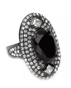 Park-Lane-Insanely-It-Hematite-Black-Statement-Ring-w-Swarovski-Crystals-Size-8