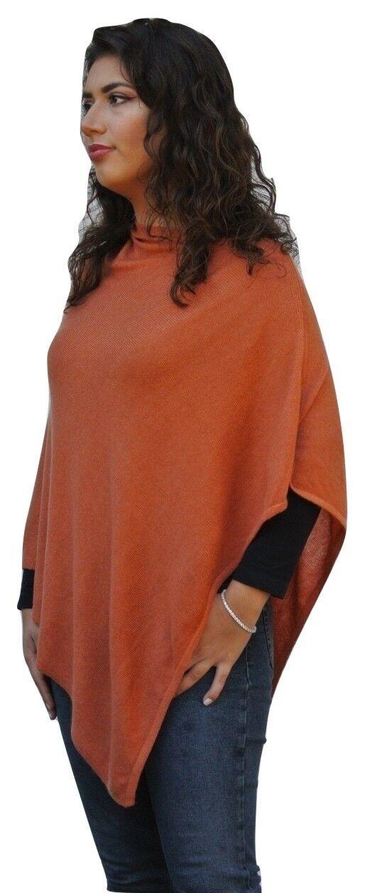 Donna 100% CASHMERE LUSSO leggero poncho arancione bruciato realizzato a mano in Nepal