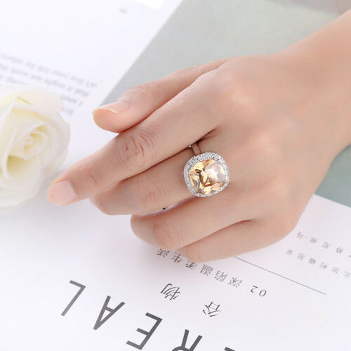 Fait Main Haute Qualité énorme carré Champange Topaz Gemstone Silver Ring SZ 6-10