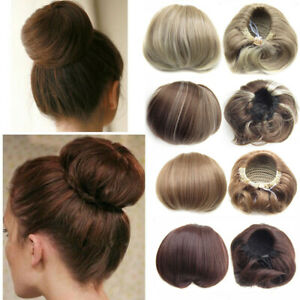 Women-Fashion-Straight-Bun-Hair-Piece-Scrunchie-Updo-Cover-Hair-Extensions