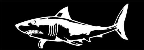 Shark salt water fish fishing sticker fun truck WHITE Vinyl Decal