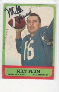 MILT PLUM DETROIT LIONS 1963 TOPPS #25 PENN STATE AUTOGRAPHED CARD ROUGH SHAPE
