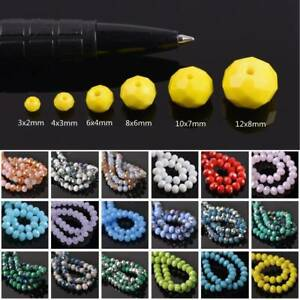 Opaque-Rondelle-Faceted-Glass-Loose-Spacer-Beads-3mm-4mm-6mm-8mm-10mm-12mm