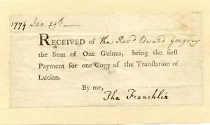 Dr. Thomas Francklin - signed receipt for Lucian translation in Britain - 1774