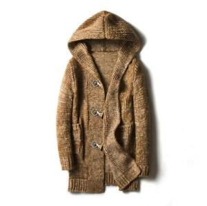 Homme-Cardigan-a-capuche-Casual-Pullover-Long-Chale-Pull-Toggle-Manteau