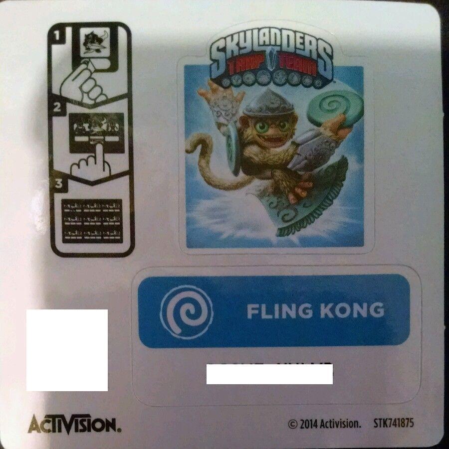 Fling Kong Skylanders Trap Team pegatina Código solamente
