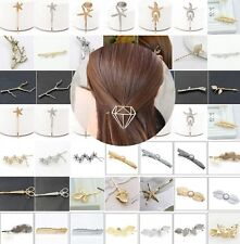 USA SELLER Bobby Pin Rhinestone Crystal Hair Clip Hairpin Leaf Gold Black H39