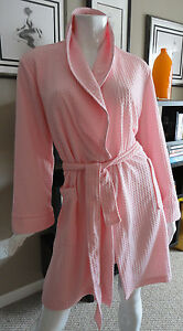 top-rated authentic search for authentic beautiful and charming Details about NWT Noire Jasmine Rose Textured Houndstooth Robe w/contrast  trim. Pink. Size:M.