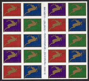 Sc# 3363a 33 Cent Christmas Deer (1999) MNH BP/20 P# B444444 SCV $28.00