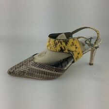 SAM EDELMAN TINLEY Brown Snake Print Leather Platform Wedge Slingback Sandals