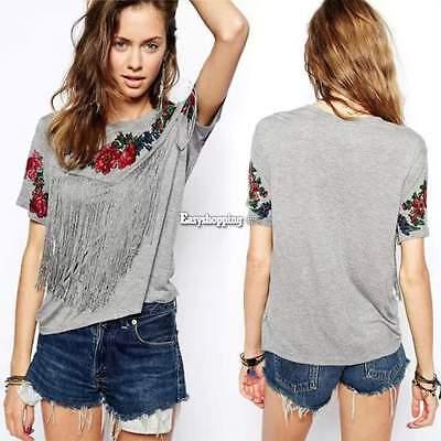 Women Short Sleeve T-shirt Casual Tee Shirts Blouse Tassel Floral Print Tops ES9