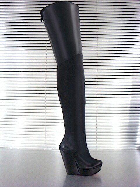 MORI WEDGES NUEVO OVERKNEE PLATAFORMA botas botas botas LEATHER negro negro LEATHER NEGRO e16d8a