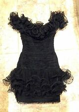 Sherri Hill Cocktail Dress Black Tulle/Ruffles Sz 0/2 Excellent  reg  $597